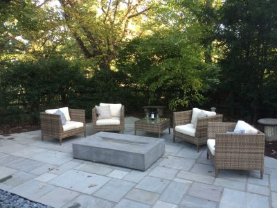 Blue Trellis Tile Patio and Firepit