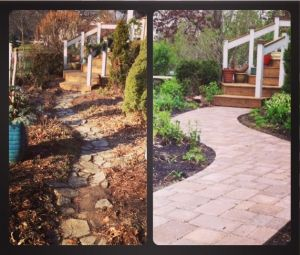 a two photo collage with before and after photos of a pathway rebuild