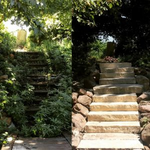 Before/After Limestone Step Install