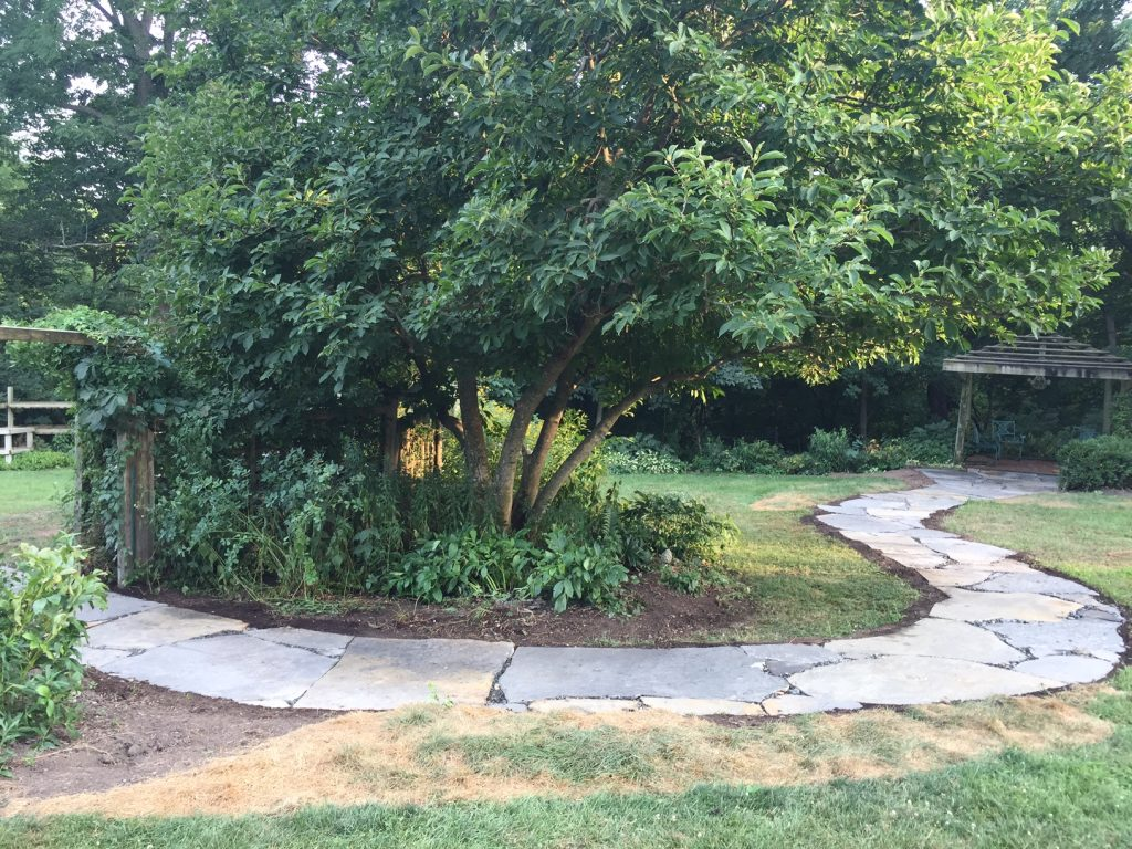curved flagstone pathway to pergola